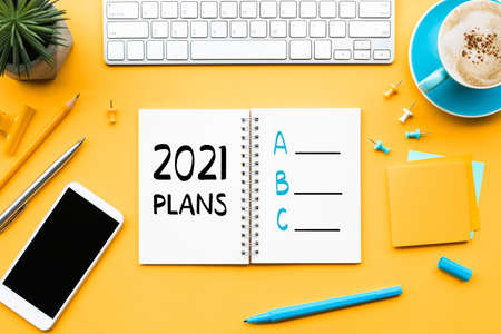 2021 new year plan a,b,c concepts with text on notepad and office accessories.Business management,Inspiration to success ideas Archivio Fotografico