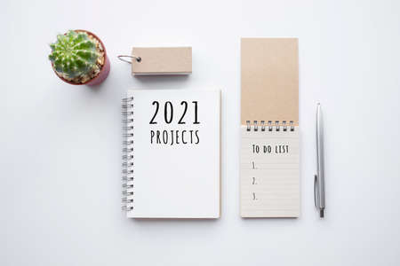 2021 projects or plan concepts with text on notepad and office accessories.Business management,Inspiration to success ideas