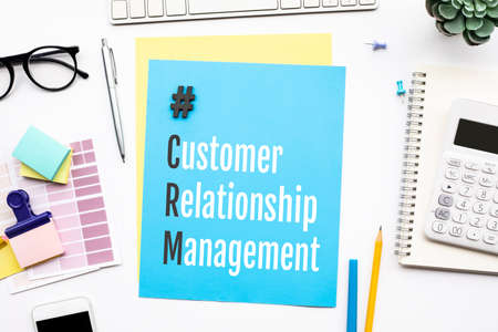 CRM,customer relationship management concepts with text on desk.business success Archivio Fotografico