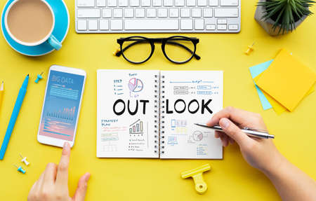 Business outlook of goal and planning project concepts.marketing strategy.top view Archivio Fotografico