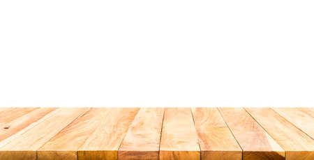 Beautiful texture wood table top texture on white background.For create product display or design key visual layout. Archivio Fotografico