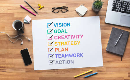 Business motivation with policy word to success.vision of worker.job management.top view