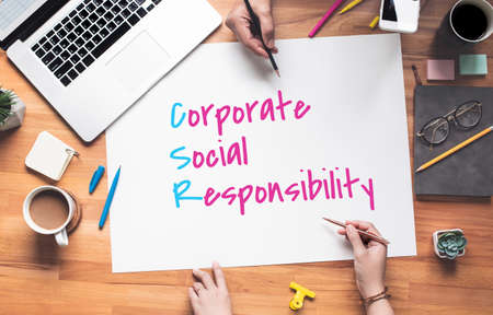 Business policy with corporate,social,responsibility text on desk office.conscience of company.direction to success