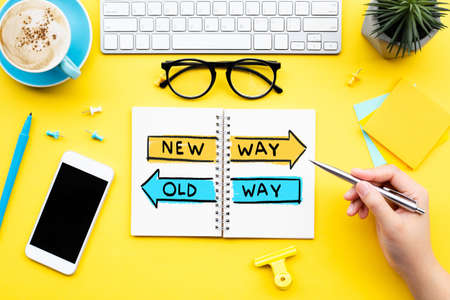 New way and old way direction concepts.planning and analysis of work.vision to success