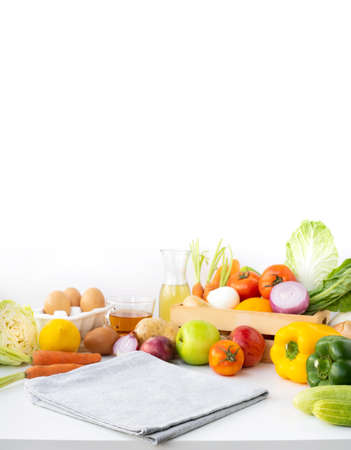 Selective focus on cloth/Set of variety vegetable with copy space.Healthy eating with vegetarian concepts.For product display Archivio Fotografico