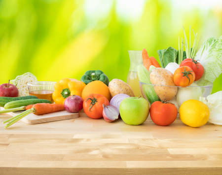 Set of variety vegetable with copy space of wood table.Healthy eating with vegetarian concepts.For product display