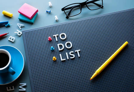 To do list text on work table.work management.business idea and plan.professional worker concepts.