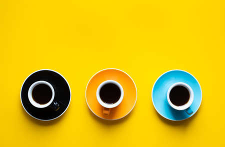 Coffee time with cup on colorful background.refreshment and drink concepts