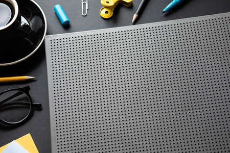 Modern worktable in black color background.creativity space