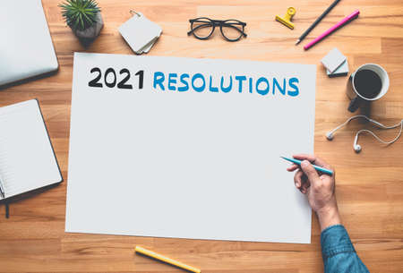 2021 resolution with hand writing on white space background.Business plan or creativity concepts