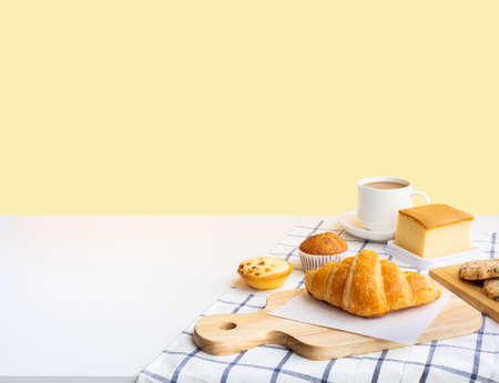 Set of breakfast food or bakery,cake on table kitchen with copy space background.cooking and eating with healthy lifestyle.top view