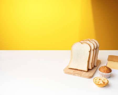 Set of breakfast food or bakery,cake on table kitchen background.cooking and eating with healthy lifestyle.top view 免版税图像