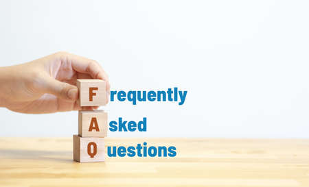 FAQ ,frequently asked questions concepts with text on wood.education and development.copy space,idea 免版税图像