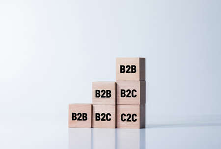 B2b, b2c, c2c concepts with text wood step. business strategy or planning management