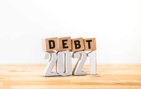 Business economy with debt of 2021 concepts,money investment and financial