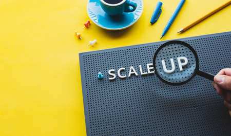 Scale up or startup business concepts with magnifying glass on text.performance of investment