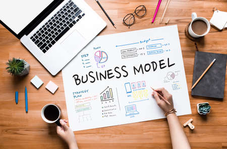 Business model and and planning project concepts.marketing strategy.top view 免版税图像