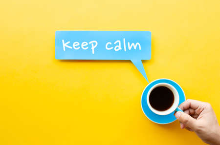 Keep calm with coffee,tea concepts.refreshment time.braking or relax 免版税图像