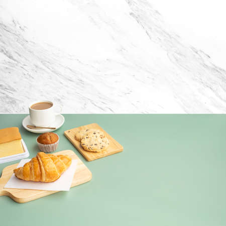 Set of breakfast food or bakery,cake on white table kitchen marble wall background.cooking and eating with healthy lifestyle.top view