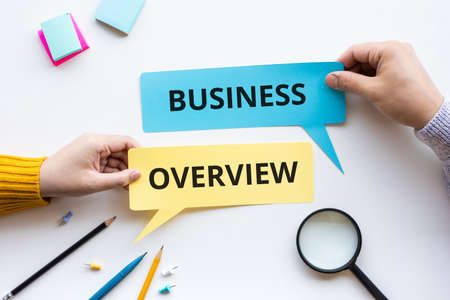 Business overview or outlook of goal and plan concepts.marketing strategy.top view