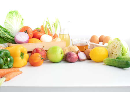Selective focus.variety vegetable with copy space of table.Healthy eating with vegetarian concepts. For product display