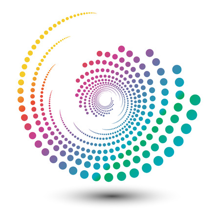 抽象的なカラフルな渦巻き形状イラスト、ロゴデザイン