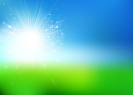 wellness environment: Fresh spring sun background  Vector illustration