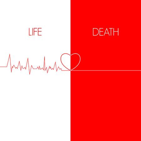 leven en dood: leven dood, EKG rode lijn hart illustratie Stock Illustratie