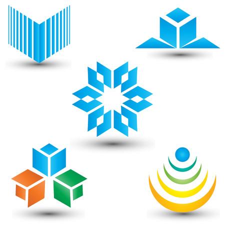 Business concept abstract pictogram en logo set, vormen Stock Illustratie