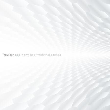 Abstracte halftoon perspectief achtergrond met witte en grijze tinten