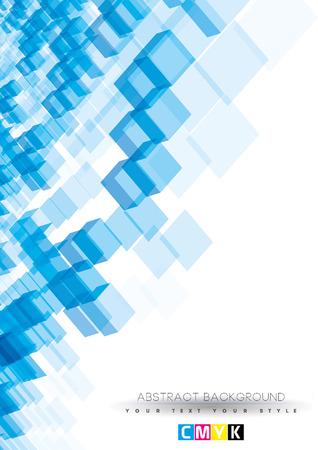추상 파란색 배경 디자인 (A4 크기 세로 페이지 커버 디자인, CMYK)