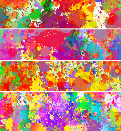 カラフルなスプラッシュ背景、バナー セットを抽象化します。水彩画背景イラスト。
