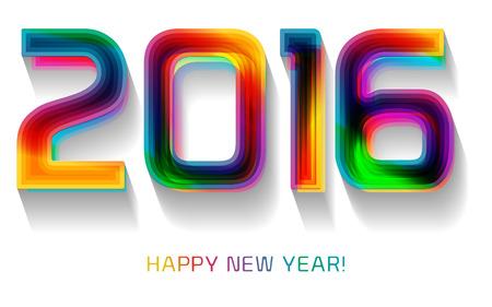 Happy new year 2016, typographic illustration. Calendar cover design.