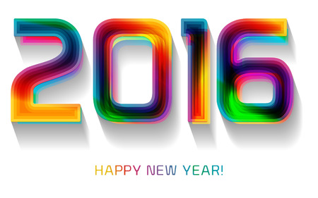 Gelukkig Nieuwjaar 2016, typografische illustratie. Kalender hoesontwerp. Stock Illustratie