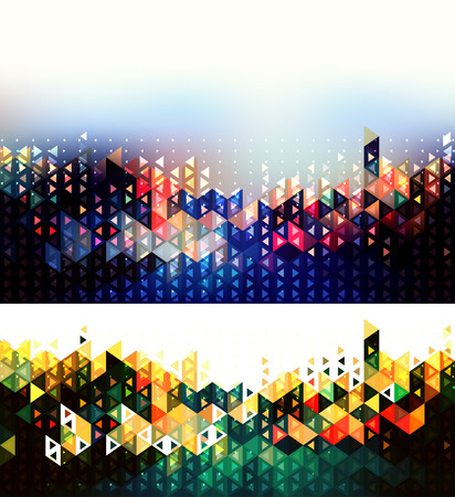 night vision: Abstract futuristic geometric backgrounds. City lights abstract illustration