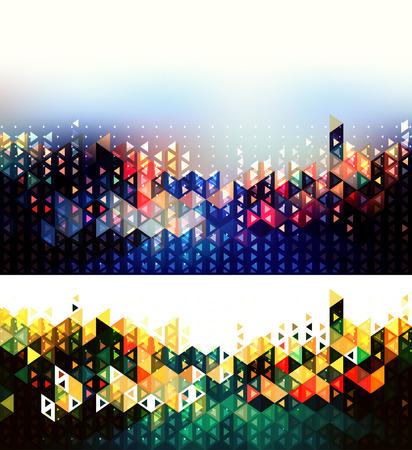 vision nocturna: Fondos geom�tricos futuristas abstractos. Luces de la ciudad ilustraci�n abstracta Vectores
