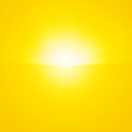 Bright sunbeams, shiny summer background with vibrant yellow & orange colors. Vector illustration. Perfect light striped background