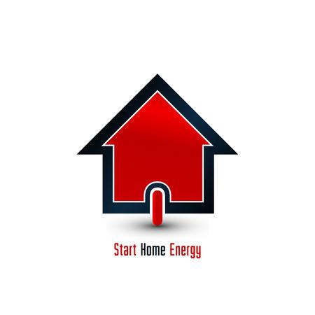 conceptual: Home energy power button, house icon Illustration