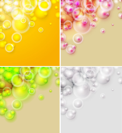 vector  molecular: Set of abstract backgrounds, colorful shiny bubbles