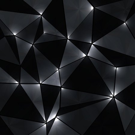 black and white: Abstract geometric background with perspective shiny lights. Illustration