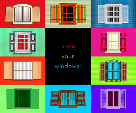 windows frame: colorful windows. seamless collage of different style funny stylish colorful windows abstract composition background