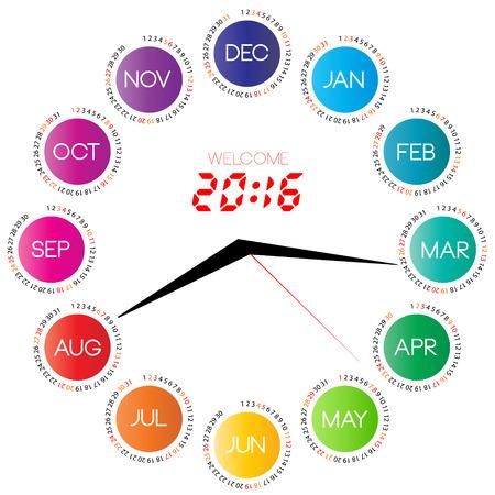 시계 영감 일러스트와 함께 2016 캘린더입니다.