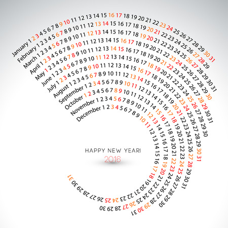 espiral: 2016 calendario ilustraci�n espiral Plantilla de la cubierta del calendario Vectores