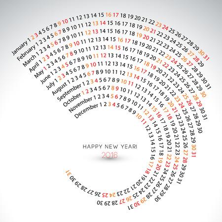 2016 kalender spiraal illustratie kalender dekkingsmalplaatje Stock Illustratie