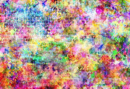 Kleurrijke grunge kunstmuur illustratie, stedelijke kunst behang, achtergrond street art. Stockfoto