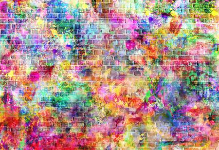 カラフルなグランジ アート壁イラスト、アーバン アート壁紙、ストリート アートの背景。