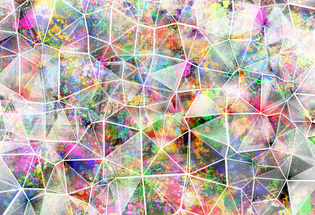 color splash: Abstract triangular  futuristic background with vibrant colors Stock Photo