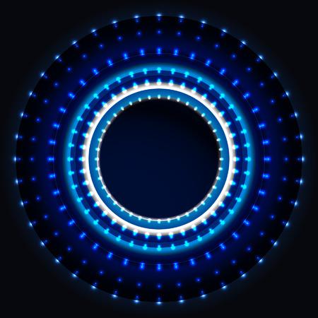 光沢のある青い led ライト、サークルの背景