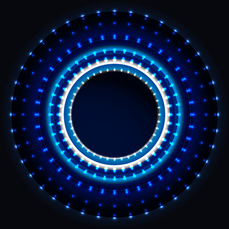 Shiny blue led lights, circle background