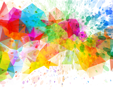 digital paint: Abstract triangular  futuristic background with vibrant colors Stock Photo